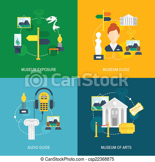 Museum icons flat set of exposure audio guide arts isolated vector ...