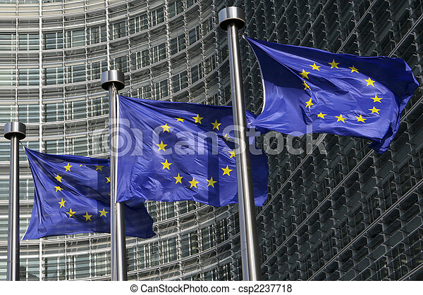 European flags in Brussels - csp2237718