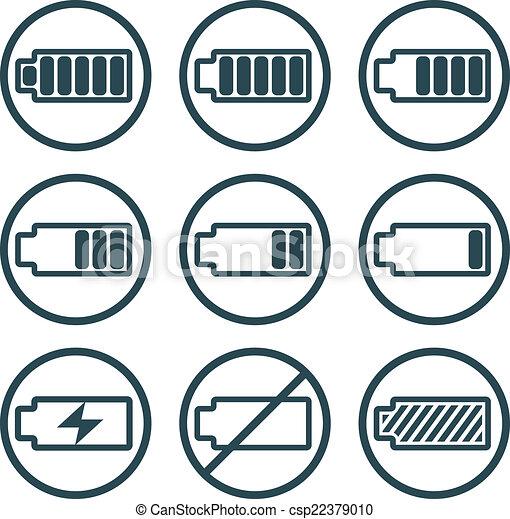 clip art vecteur de indicateur ic nes batterie vect. Black Bedroom Furniture Sets. Home Design Ideas