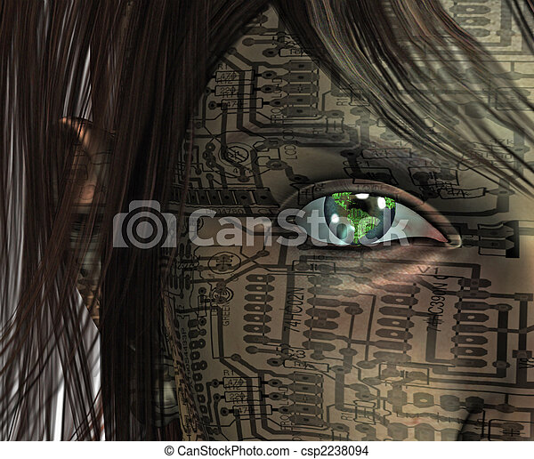 Technology Human with Earth Eye - csp2238094