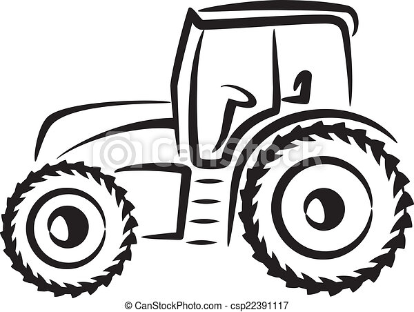 Vektor Clip Art Von Einfache Abbildung Traktor