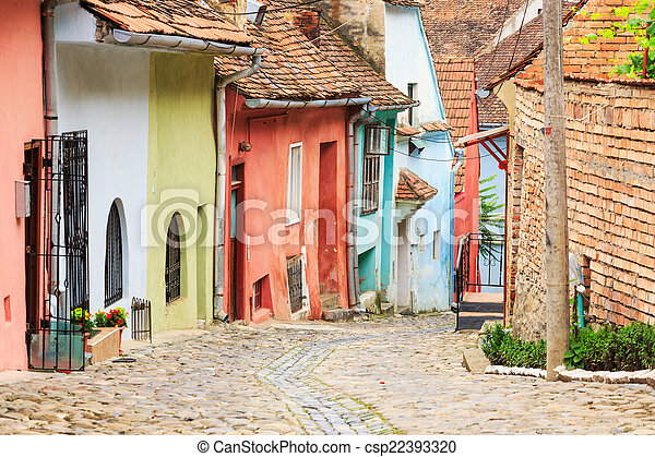Medieval street view in Sighisoara founded by saxon colonists in - csp22393320