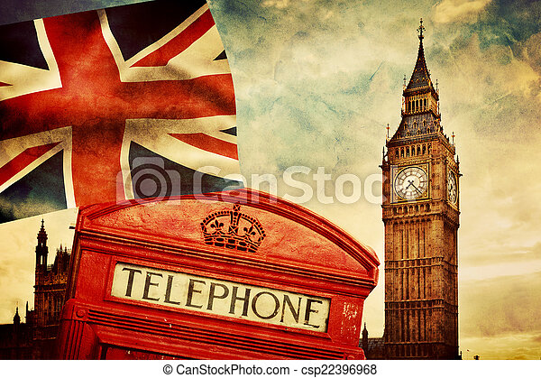Symbols of London, England, the UK. Red phone booth, Big Ben, the Union Jack flag - csp22396968