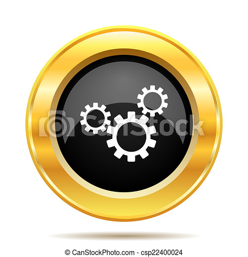 Clip Art of Settings icon. Internet button on white ...