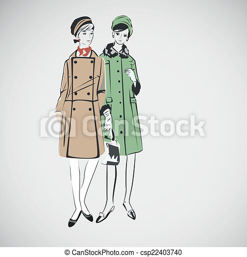 Vector sketch girls in fashion clothes eps - csp22403740