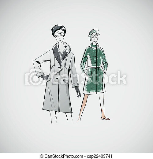 Vector sketch girls in fashion clothes eps - csp22403741