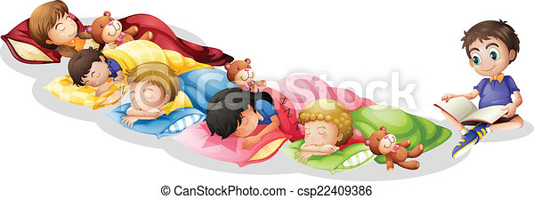 Vector Of Nap Time Illustration Of Children Taking A Nap