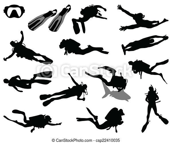 Vecteurs de plongeur black silhouette de plongeur - Dessin plongeur ...