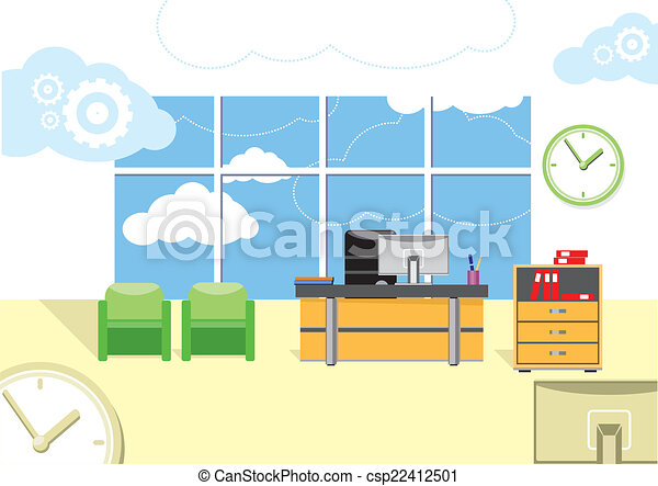 Vector clipart of modern office interior with designer for Interior design video clips