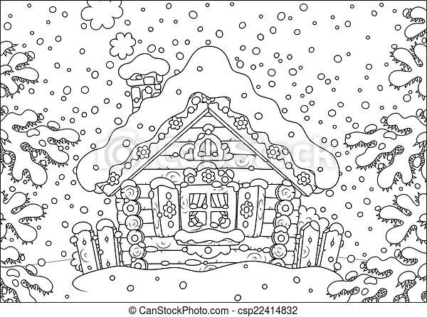 Vectors Of Log Hut In Snow Rustic Log House Covered With