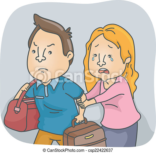 Vectors of Husband Leaving Wife - Illustration Featuring a ...