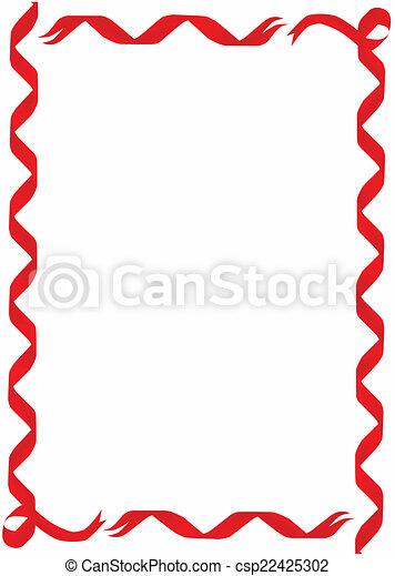 Vector Clipart of Red Ribbon Border - A Red Ribbon Border ...