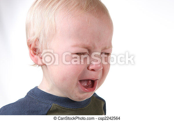 Crying Frustrated Little Boy on White - csp2242564