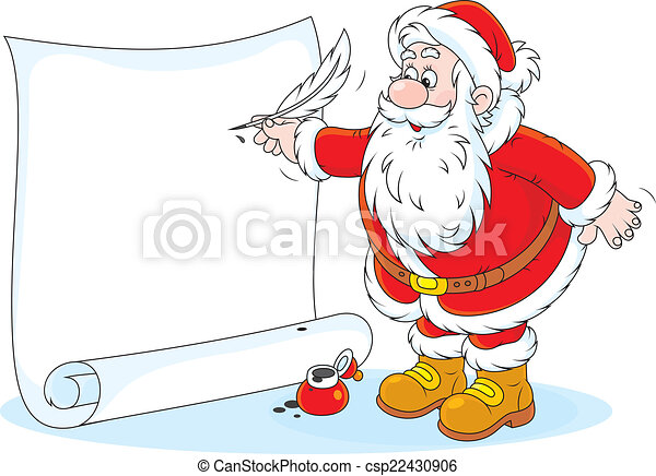 Vector Clipart of Santa Claus writing - Father Christmas writes ...