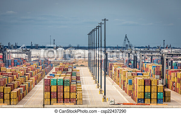 Cargo containers in port in Texas