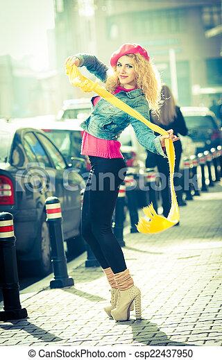 Attractive fashionable woman, urban