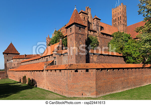 Malbork castle, Teutonic Knights\' fortress also known as Marienburg, UNESCO World Heritage Site, Poland.