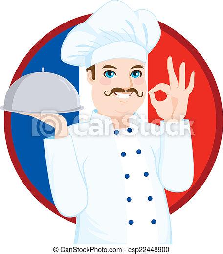 Vector clip art de chef cocina franc s bigote franc s for Chef en frances