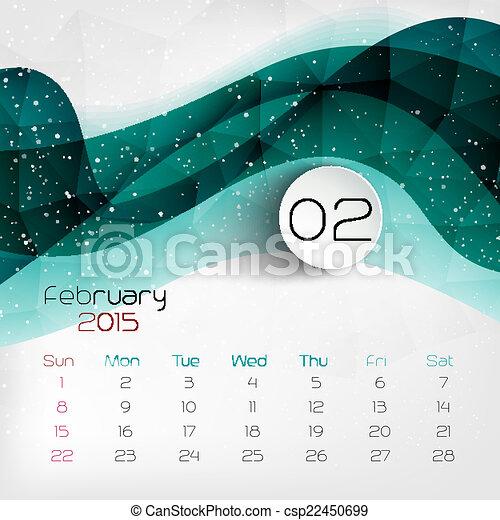 カレンダー 2015 カレンダー 2月 : 2015, カレンダー, 2 月, ベクトル ...
