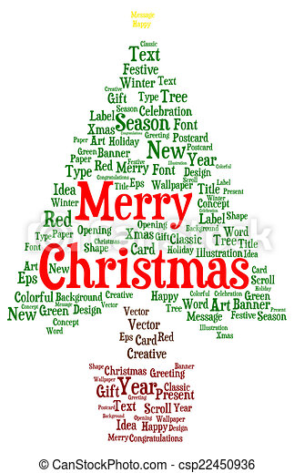 Merry Christmas word cloud in a shape of a christmas tree isolated on ...