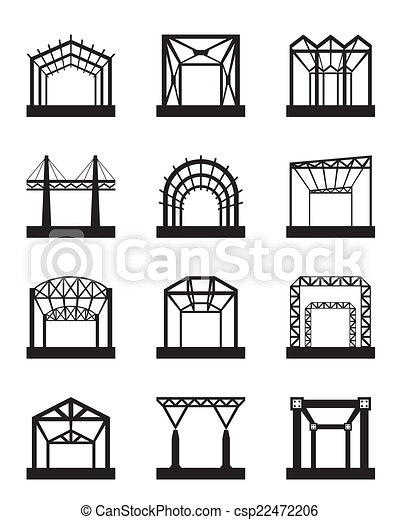 Vector Clipart of Metal structures icon set - vector illustration ...