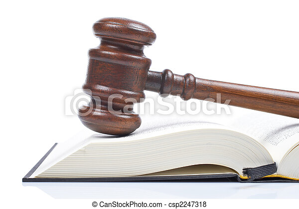 Wooden gavel and law book - csp2247318