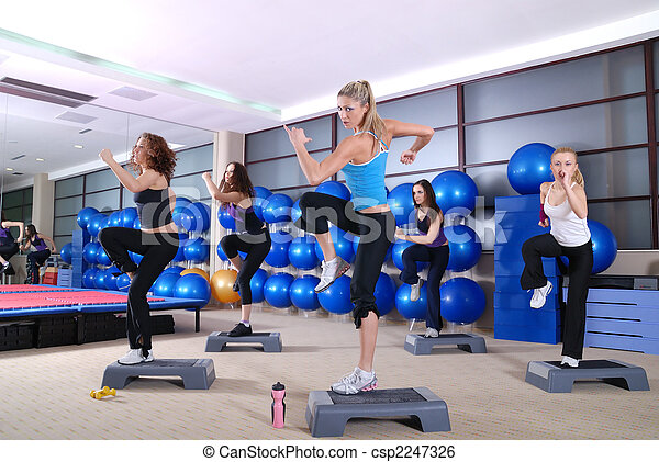 A group of women exercising in the fitness club. - csp2247326