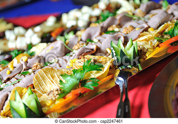 Catering food arrangement on table - csp2247461