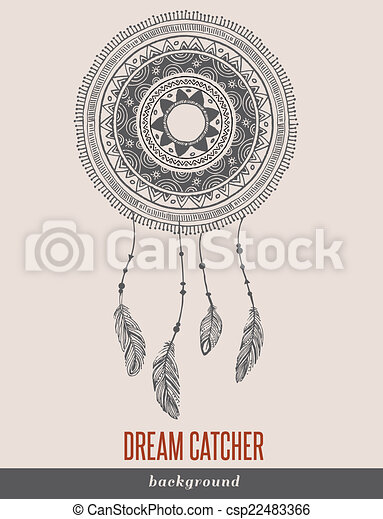 Clip art vector of dream catcher boho ethnic tribal for Dream catcher graphic