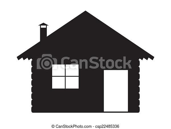 Vectores de silueta, registro, cabaña - Un, registro, cabaña ...