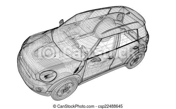 Drawing of car 3d model car model model body structure - Voiture 3d dwg ...