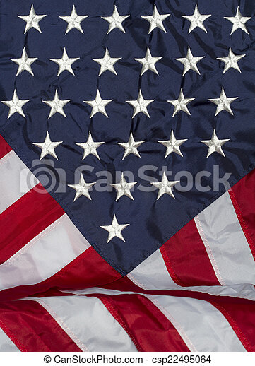 Vertical Photo of a Draped American Flag