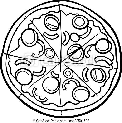 Vector Illustration of italian pizza cartoon coloring page - Black ...