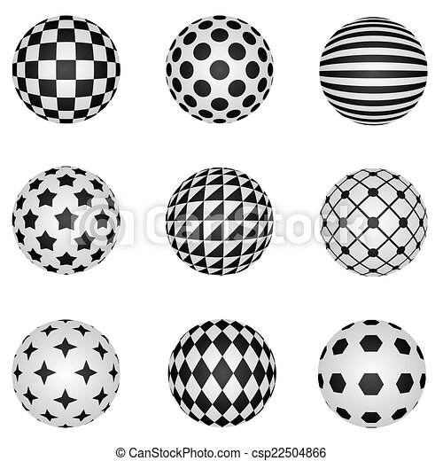Clip Art Vector of Black and white 3D patterned sphere ...