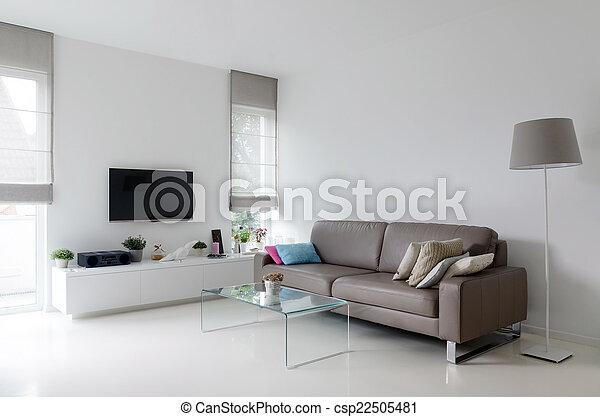 Plaatjes van witte levend kamer met taupe sofa witte levend csp22505481 zoek naar - Witte kamer en taupe ...