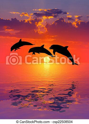 Schöne Delfin Bilder : stock fotografie von sch ne delfin sonnenuntergang und delfin meer und csp22508504 ~ Frokenaadalensverden.com Haus und Dekorationen
