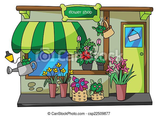 Ilustraciones vectoriales de flor tienda csp22509877 - Fleuriste dessin ...