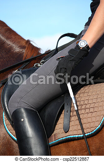 Close up of rider in saddle