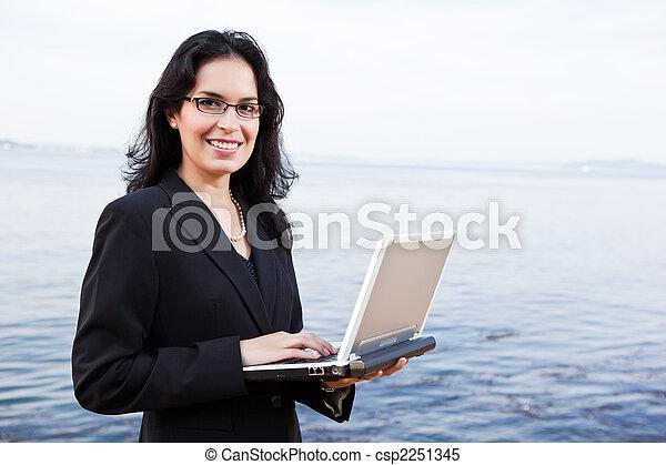 Hispanic businesswoman with laptop - csp2251345