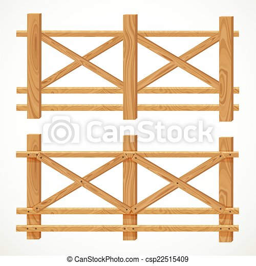 Farm Fence Clipart vector clipart of wooden farm fence from crossed planking isolated