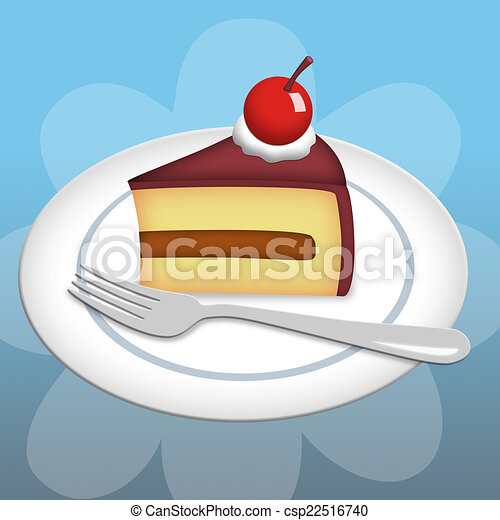 Drawing of Piece of Cake - Slice of cake on plate with ...