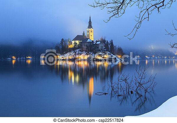 Foggy evening on Bled lake