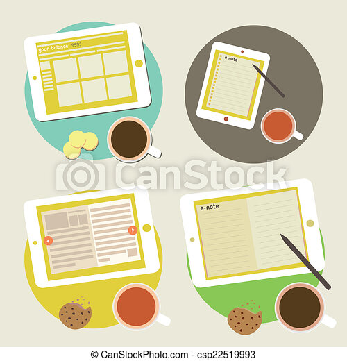 Tablet PC Clip Art Desk