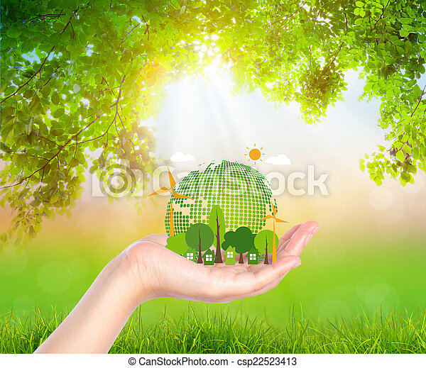 Woman hand hold eco friendly earth