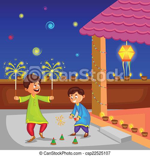 Vector Clipart of Kids enjoying firecracker celebrating Diwali - kids ...