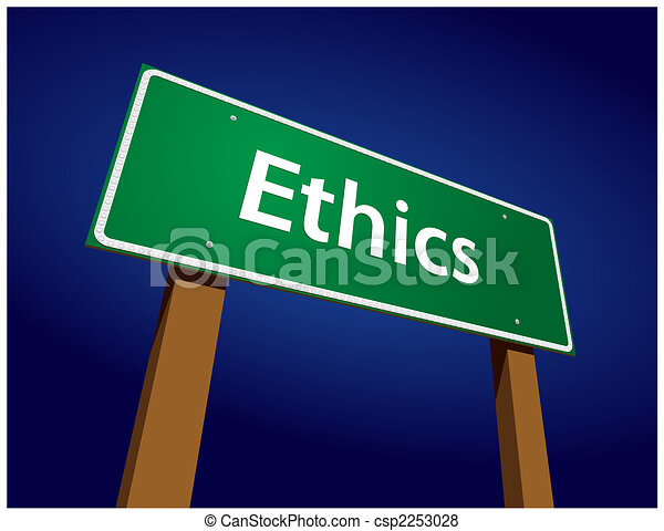 Ethics Green Road Sign Illustration - csp2253028
