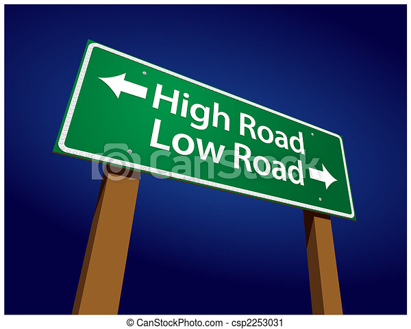 High Road, Low Road Green Road Sign Illustration - csp2253031