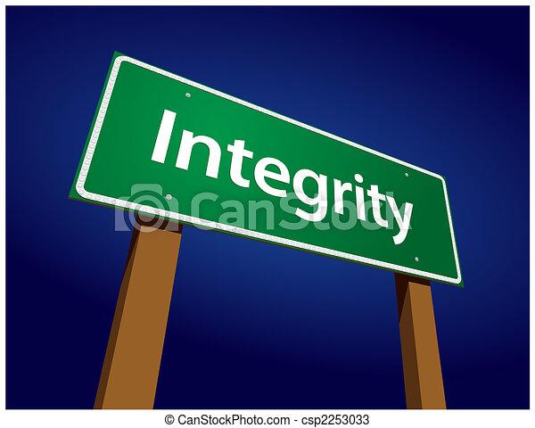 Integrity Green Road Sign Illustration - csp2253033
