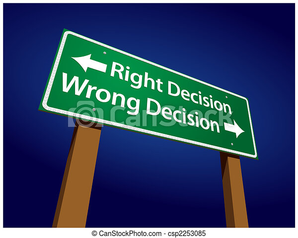 Right Decision, Wrong Decision Green Road Sign Illustration - csp2253085