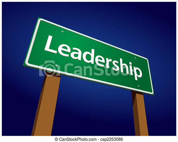Leadership Green Road Sign Illustration - csp2253086